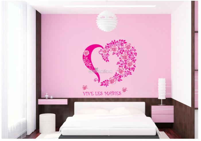 Decal dán tường  Trái tim hoa hồng