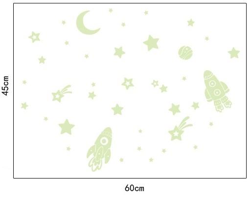 Decal dán tường  Trăng sao dạ quang 6