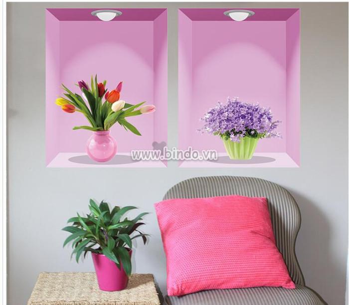 Decal dán tường Bình hoa nghệ thuật 3D số 2