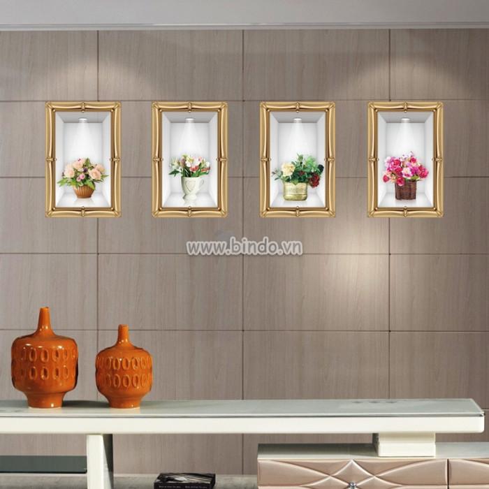 Decal dán tường Bình hoa nghệ thuật 3D số 4