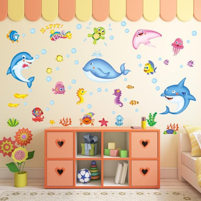 Decal dán tường Cá đại dương sắc màu