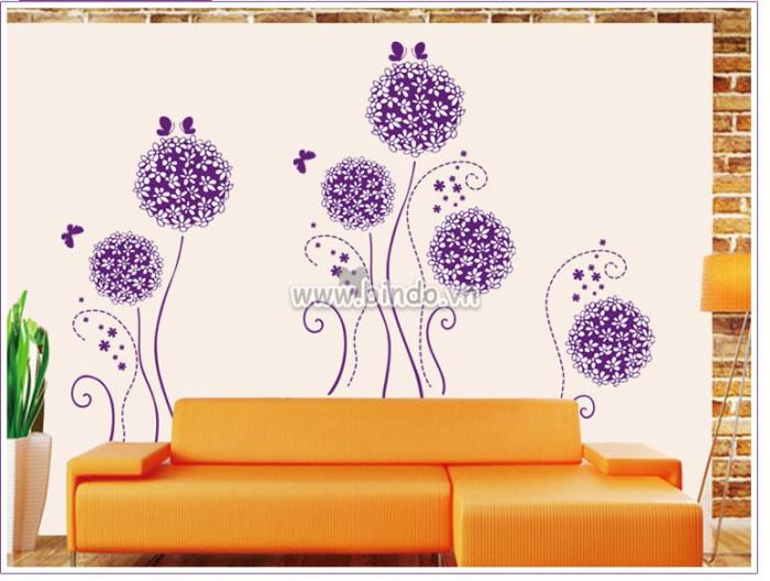 Decal dán tường Hoa tú cầu tím và bướm