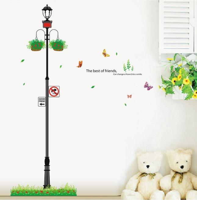 Decal dán tường Cây cột đèn 1