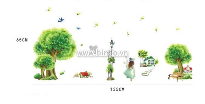 Decal dán tường Cô gái dạo công viên cây xanh