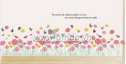 Decal dán tường Chân tường hoa cúc hồng to