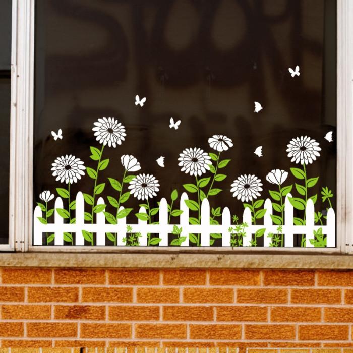 Decal dán tường Chân tường hoa trắng