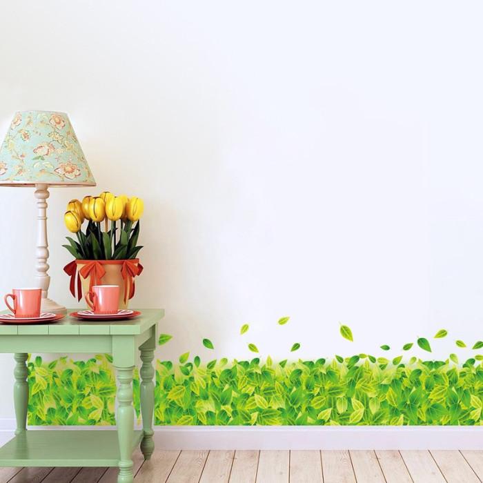 Decal dán tường Chân tường lá xanh
