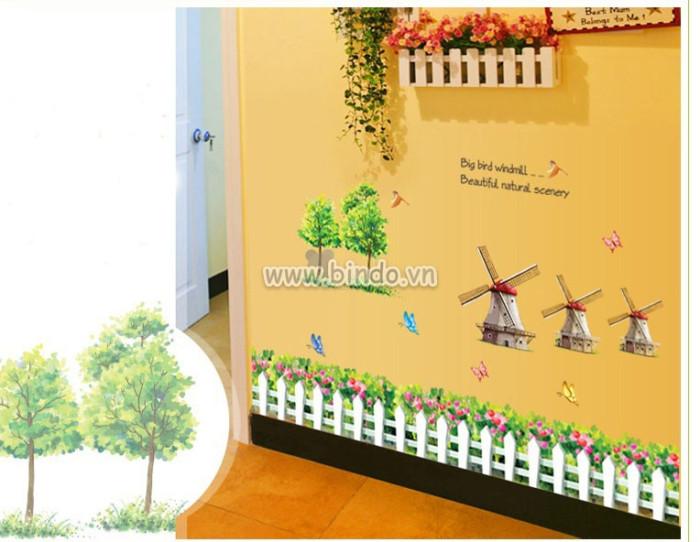 Decal dán tường Cối xây gió 3