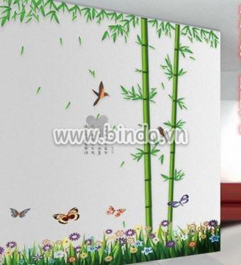Decal dán tường Combo bụi trúc to và chân tường hoa cỏ