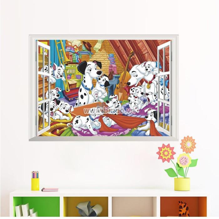 Decal dán tường Cửa sổ gia đình chó đốm 3D