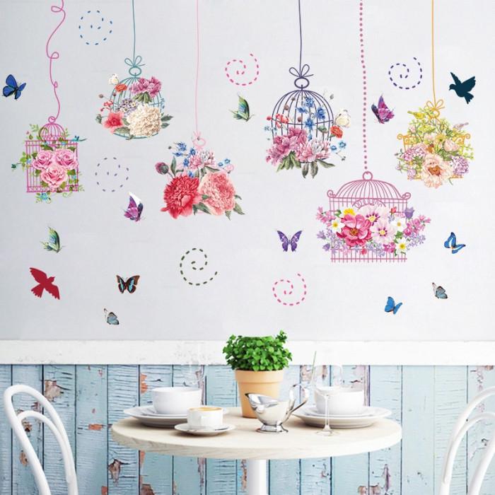 Decal dán tường Dây hoa hồng trang trí sắc màu