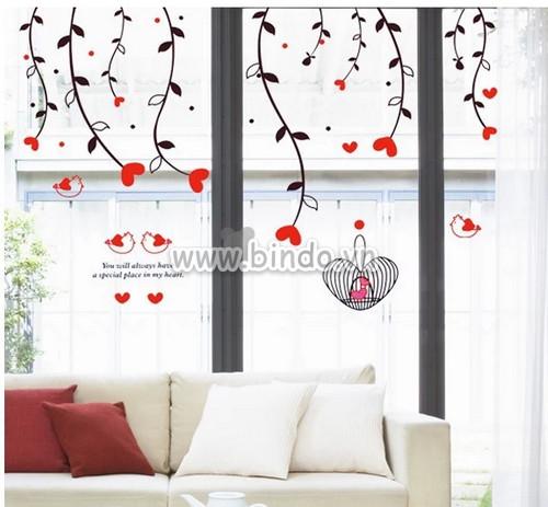 Decal dán tường Dây leo hoa trái tim đỏ