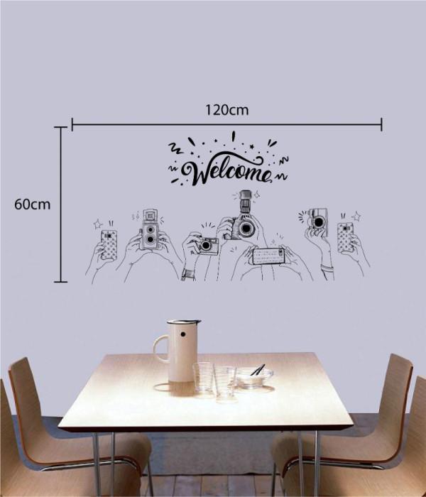 Decal dán tường Decal chữ Welcome và máy ảnh