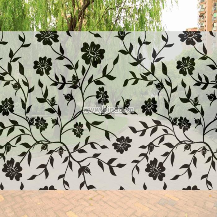 Decal dán tường Decal dán kính họa tiết hoa đen