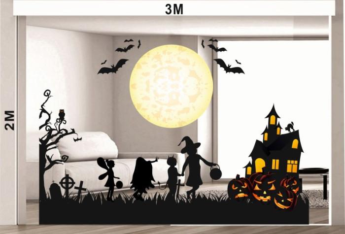 Decal dán tường Decal halloween mặt trăng và dơi 3