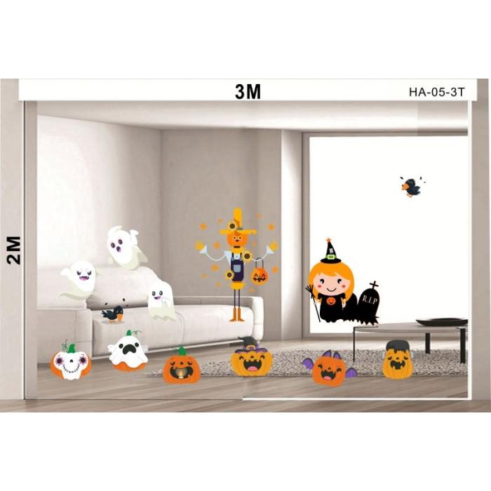 Decal dán tường Decal halloween bí ngô ngộ nghĩnh