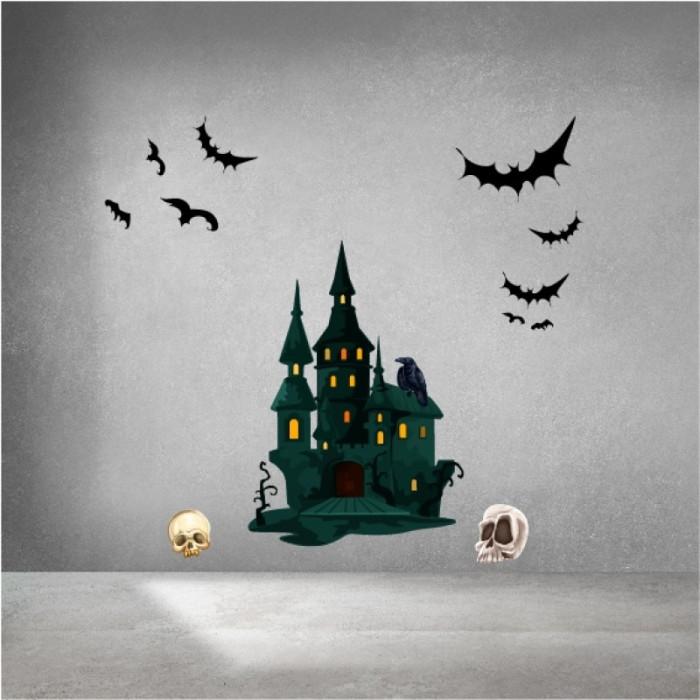 Decal dán tường Decal halloween lâu đài buồn