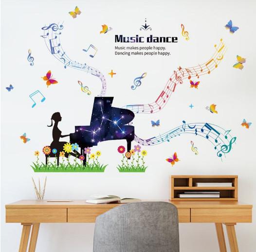 Decal dán tường Decal nghệ sĩ chơi đàn Piano