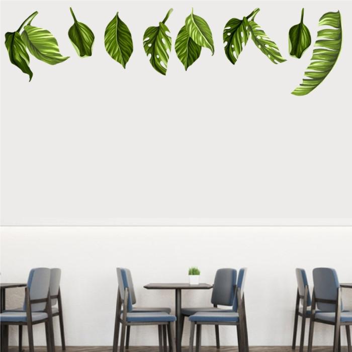 Decal dán tường Decal những chiếc lá xanh
