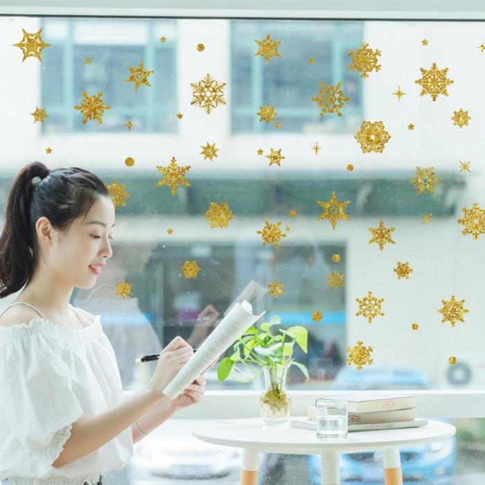 Decal dán tường Noel-Bông hoa tuyết giáng sinh vàng 2020