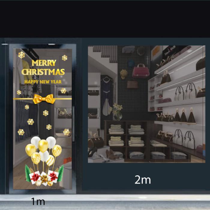 Decal dán tường Noel Chữ merry christmas và bong bóng vàng