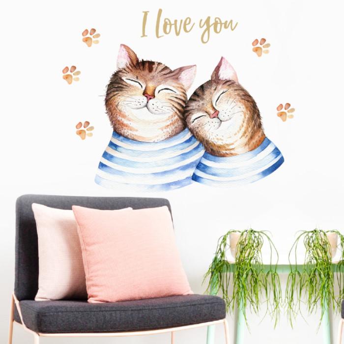 Decal dán tường Đôi bạn mèo