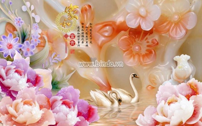 Đôi thiên nga và hoa cúc