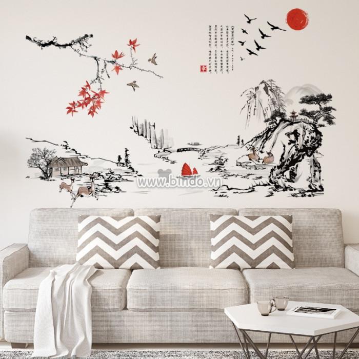 Decal dán tường Đồng  quê hữu tình