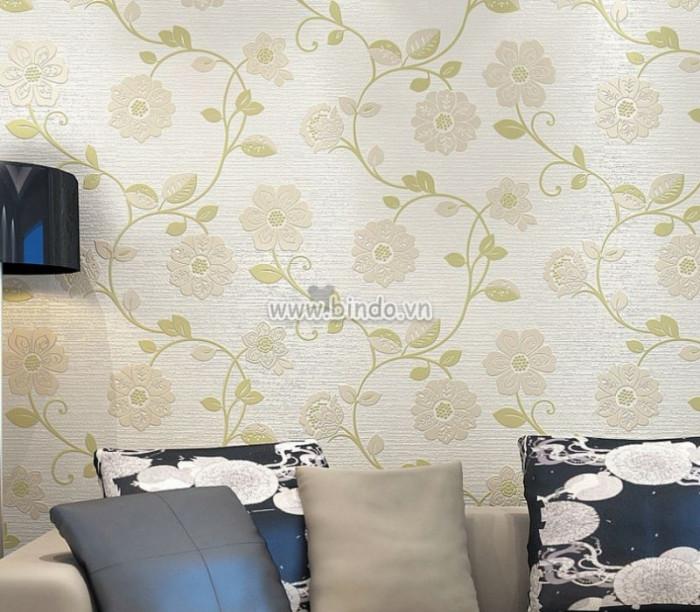 Giấy dán tường 3d dây leo hoa xanh lá