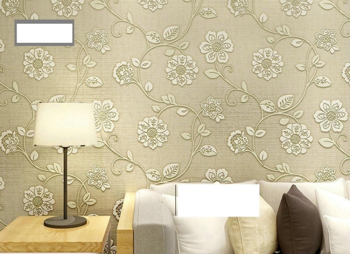 Giấy dán tường 3d họa tiết hoa vàng 1 2
