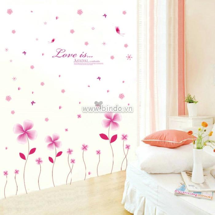 Decal dán tường Hoa 4 cánh hồng