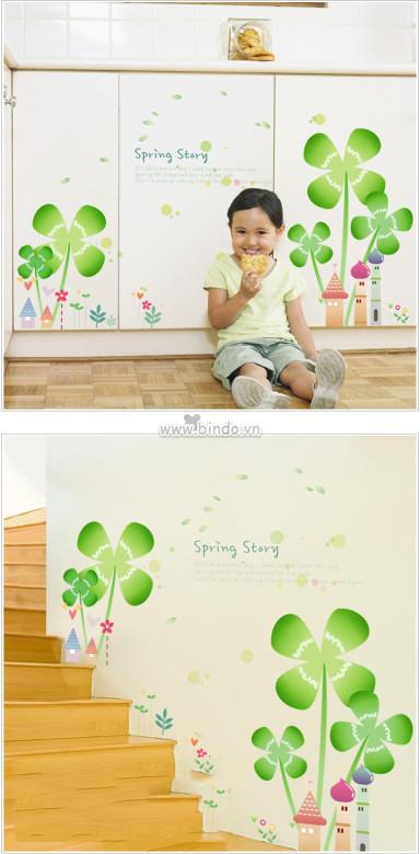 Decal dán tường Hoa 4 cánh xanh