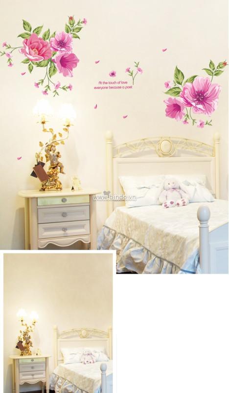 Decal dán tường Hoa râm bụt hồng