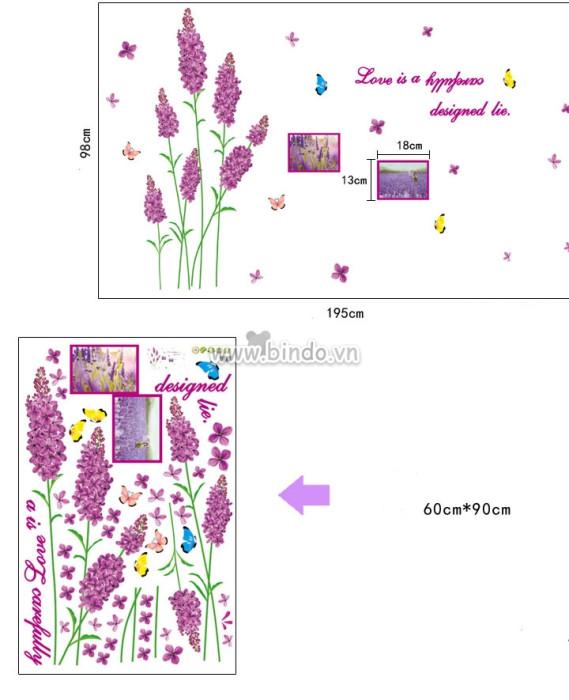 Decal dán tường Hoa lavender hồng