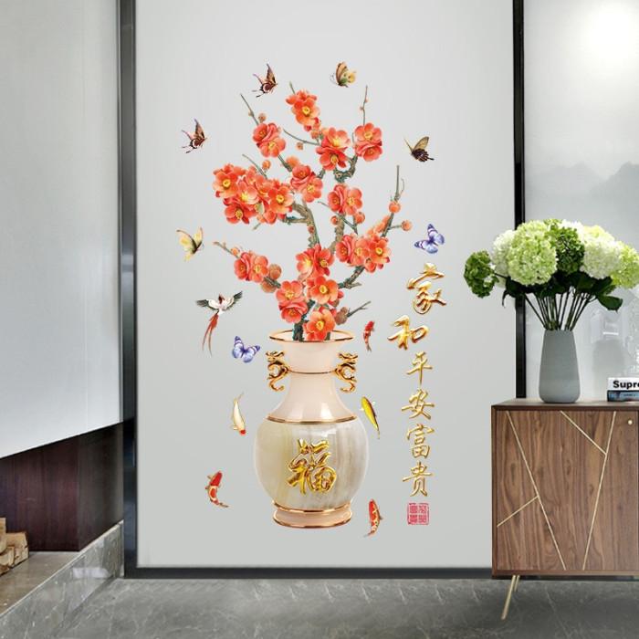 Decal dán tường Bình hoa mùa xuân
