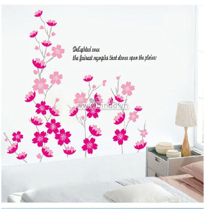 Decal dán tường Hoa mai hồng