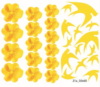 Decal dán tường Trang trí tết hoa mai và chim én A
