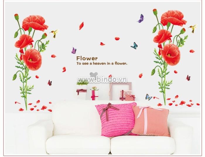 Decal dán tường Hoa trinh nữ đỏ