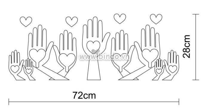 Decal dán tường Móc treo đồ bàn tay