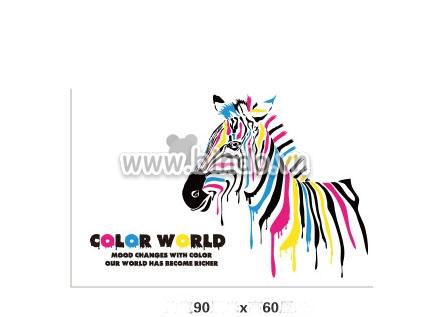 Decal dán tường Ngựa sắc màu
