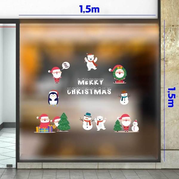 Decal dán tường Noel-Ông già cùng bạn