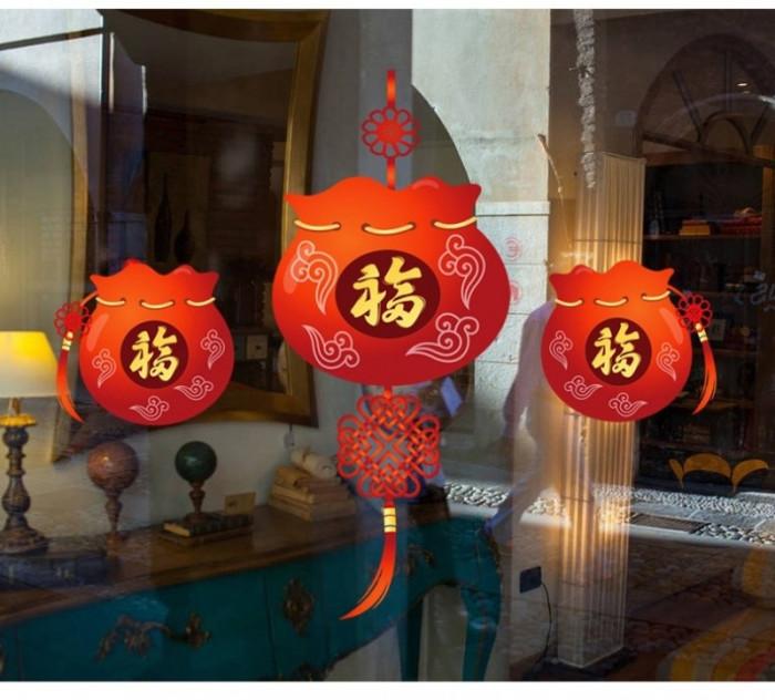 Decal dán tường Tết xuân 31 - Ba lồng đèn xinh