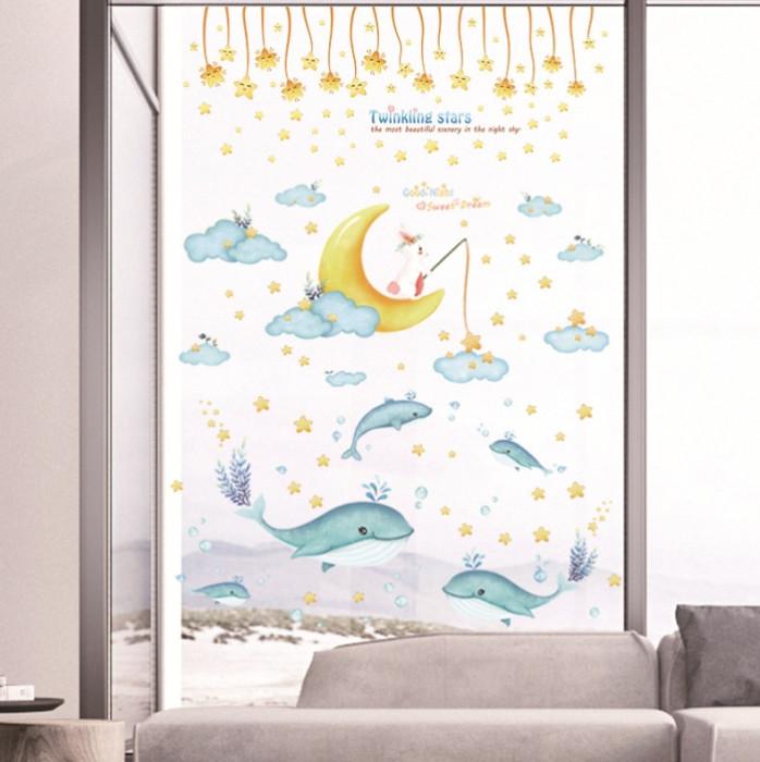 Decal dán tường Combo Thỏ câu cá