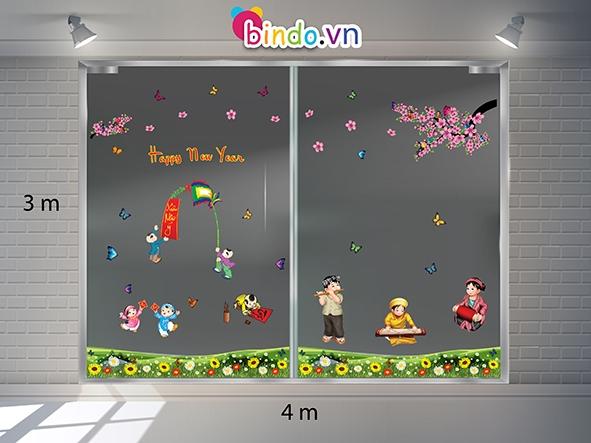 Decal dán tường Trang trí Tết Xuân Combo Số 2