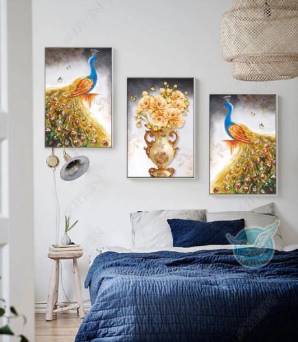 Tranh bộ 3 chim công ngủ sắc và lọ hoa