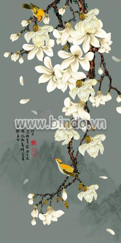 Tranh hoa lan trắng và đôi chim vàng