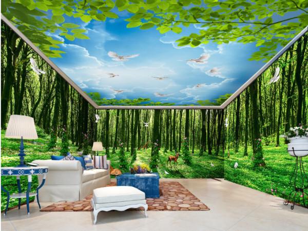 Tranh full phòng khu rừng xanh