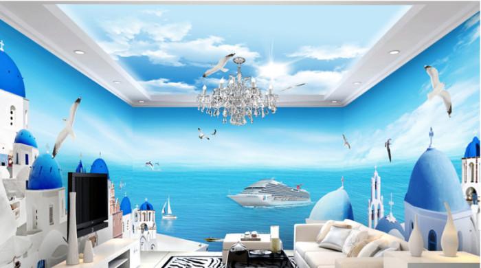 Tranh full phòng thành phố biển Santorini 1