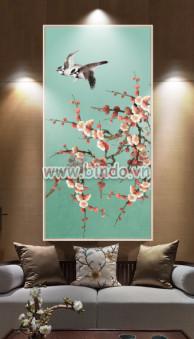 Tranh hoa đào đỏ và đôi chim