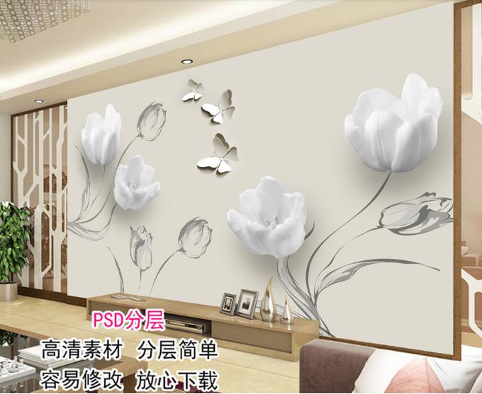 Tranh hoa hồng trắng 3D